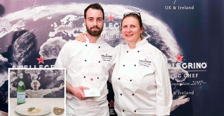 Killian Crowley pictured with mentor Angela Hartnett receiving his UK & Ireland award and (inset) the dish prepared for the semi final. Photo: Simone Lezzi