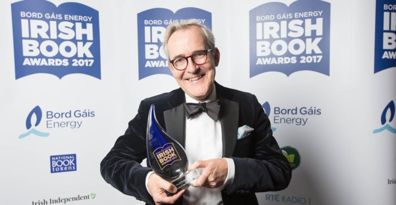 Rory O'Connell collects his Irish Book Awards trophy. Photo: @BGEIBAS/Twitter