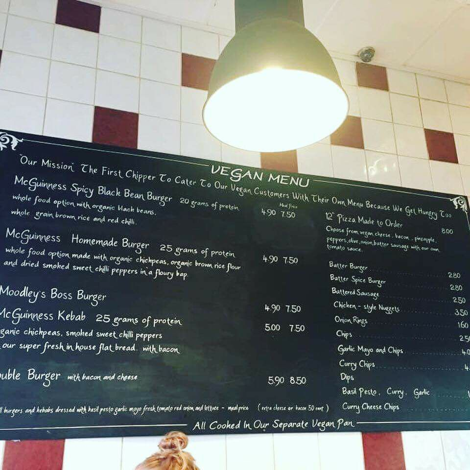 Vegan Foodie Festival menu at McGuinness' takeaway