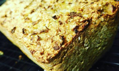 Quick and easy brown bread recipe with an onion crust.