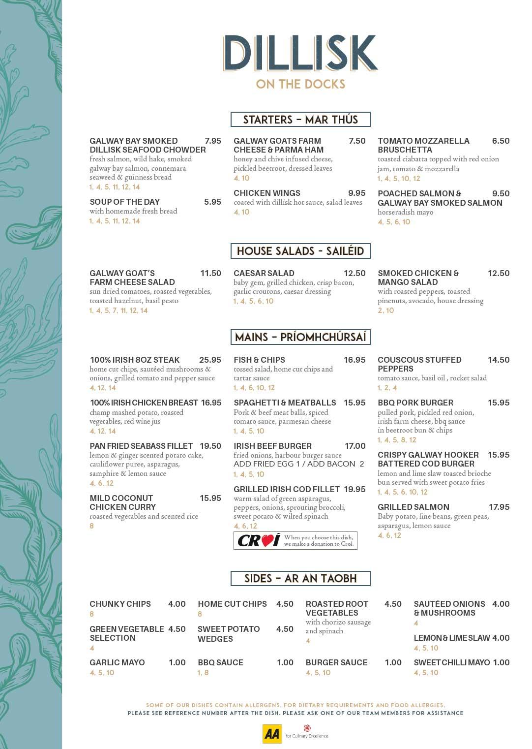 The a la carte menu at Dillisk on the Docks