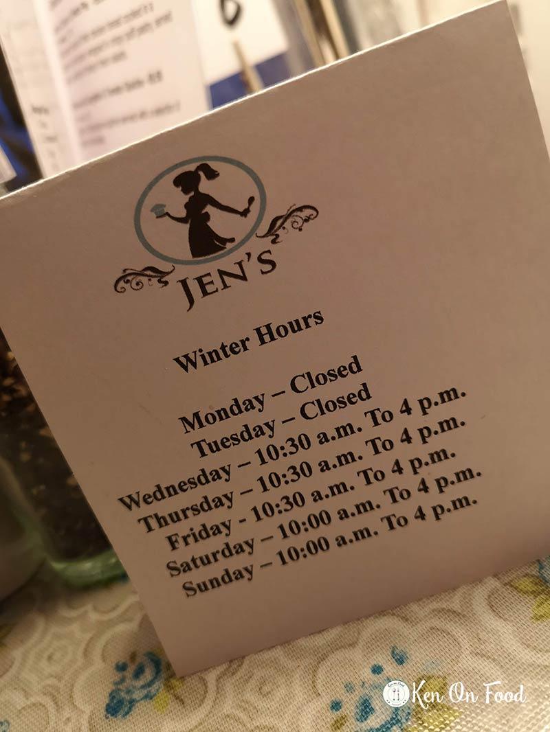 Jen's winter hours. Photo: Ken McGuire/kenonfood.com