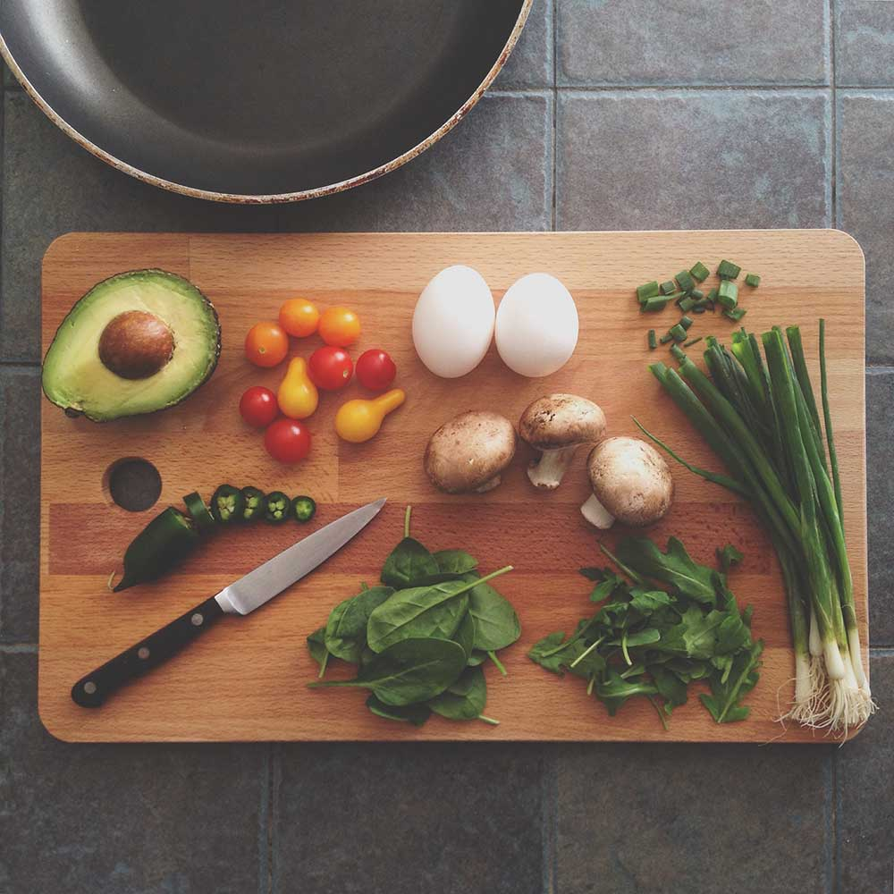 Food on a chopping board. Photo: Katie Smith