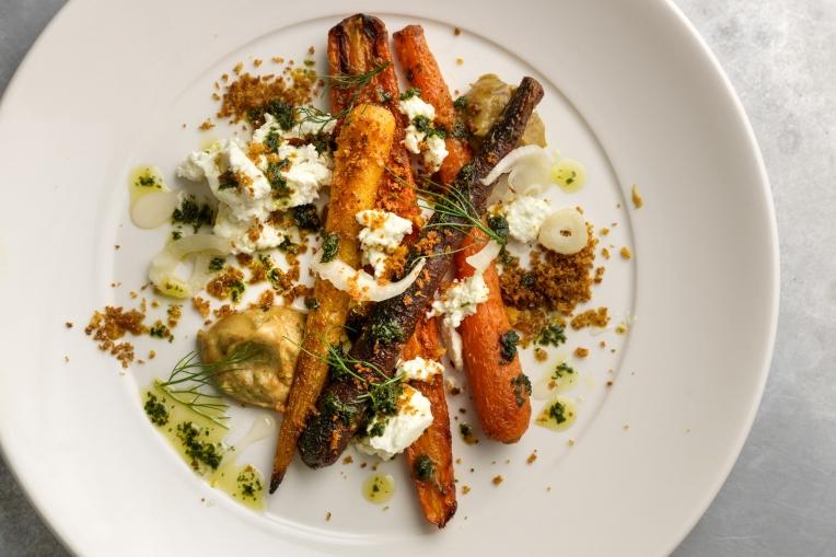 Roast carrots and Knockalara cheese at Paradiso, Cork.