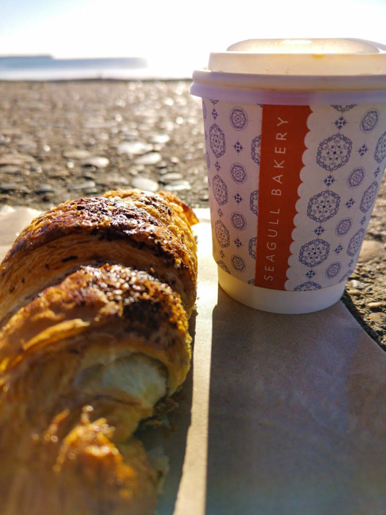 Hazelnut croissants and a coffee from Seagull Bakery in Tramore.