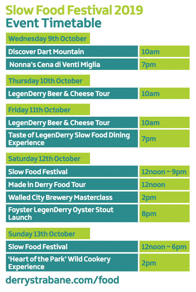 Slow Food Festival 2019: Event Timetable