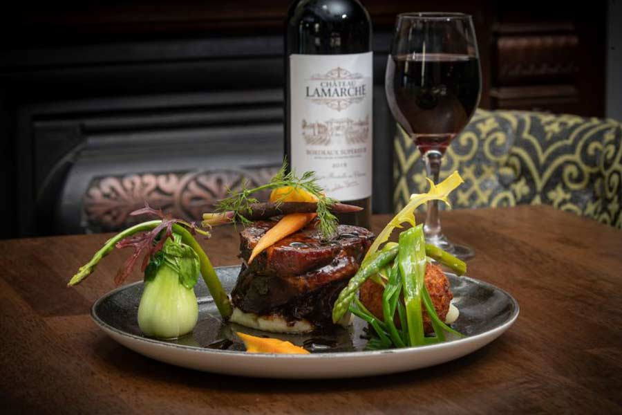 Food and wine on the table at Harper's Restaunt, Kilkenny Hibernian Hotel
