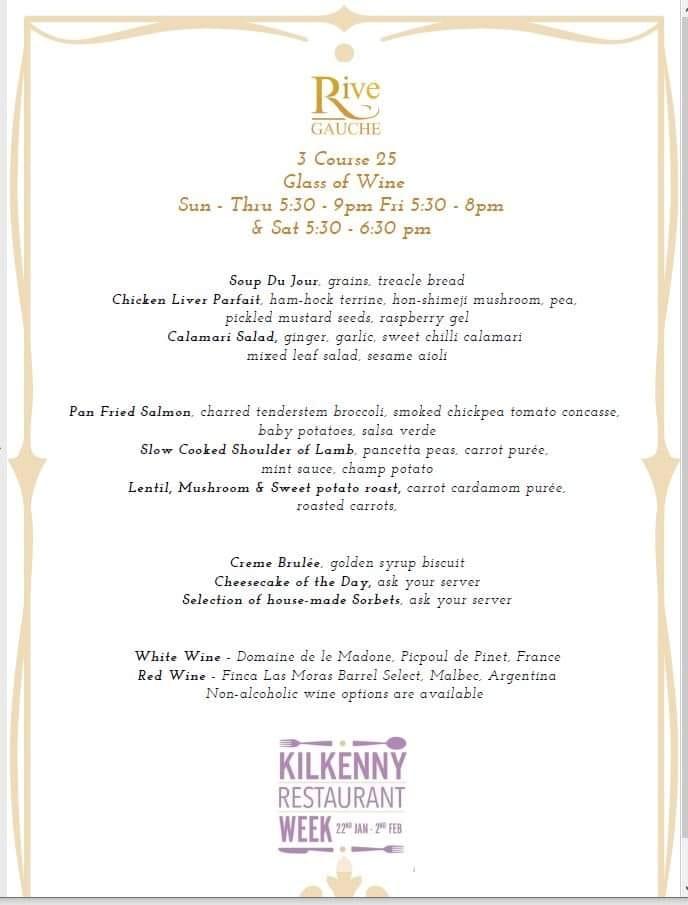 Kilkenny Restaurant Week menu for Rive Gauche