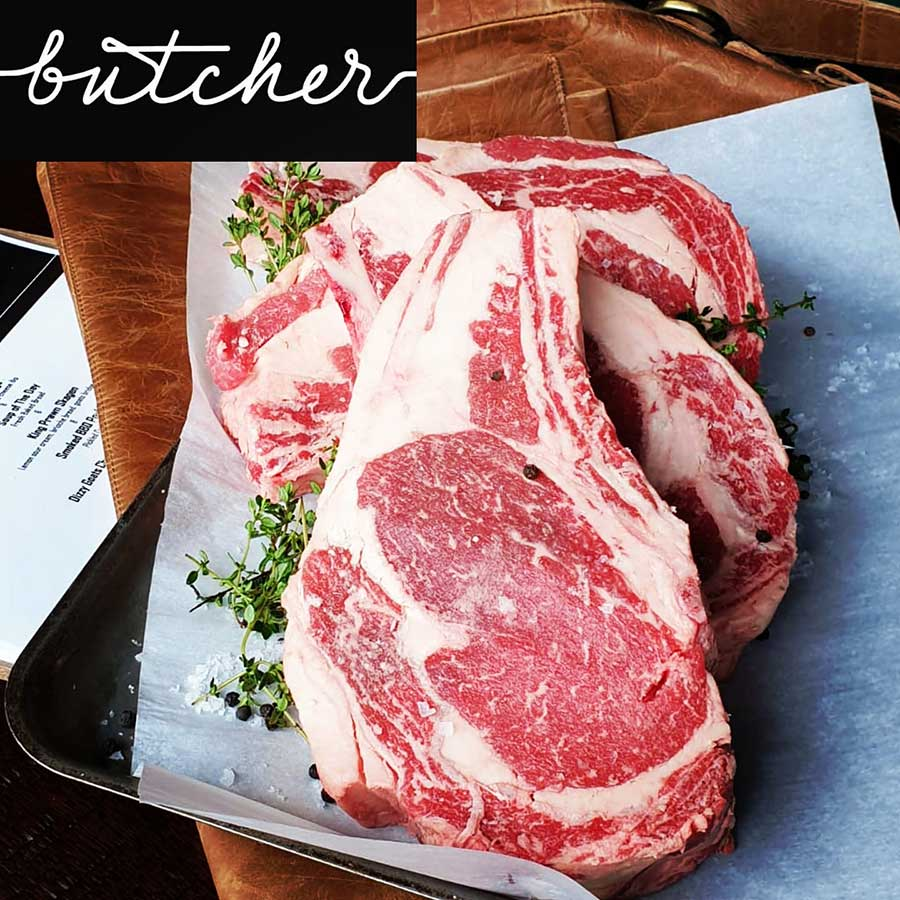 18oz bone in Angus ribeye at Butcher