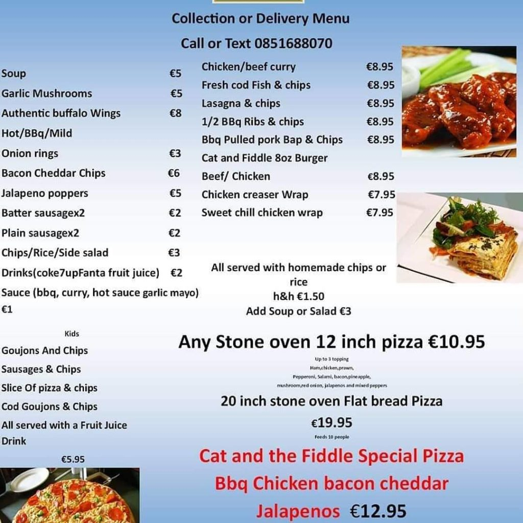 Cat & The Fiddle delivery menu