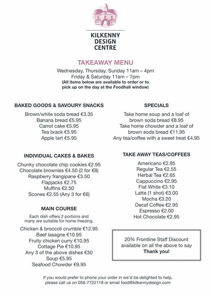 Kilkenny Design Food Hall takeout menu