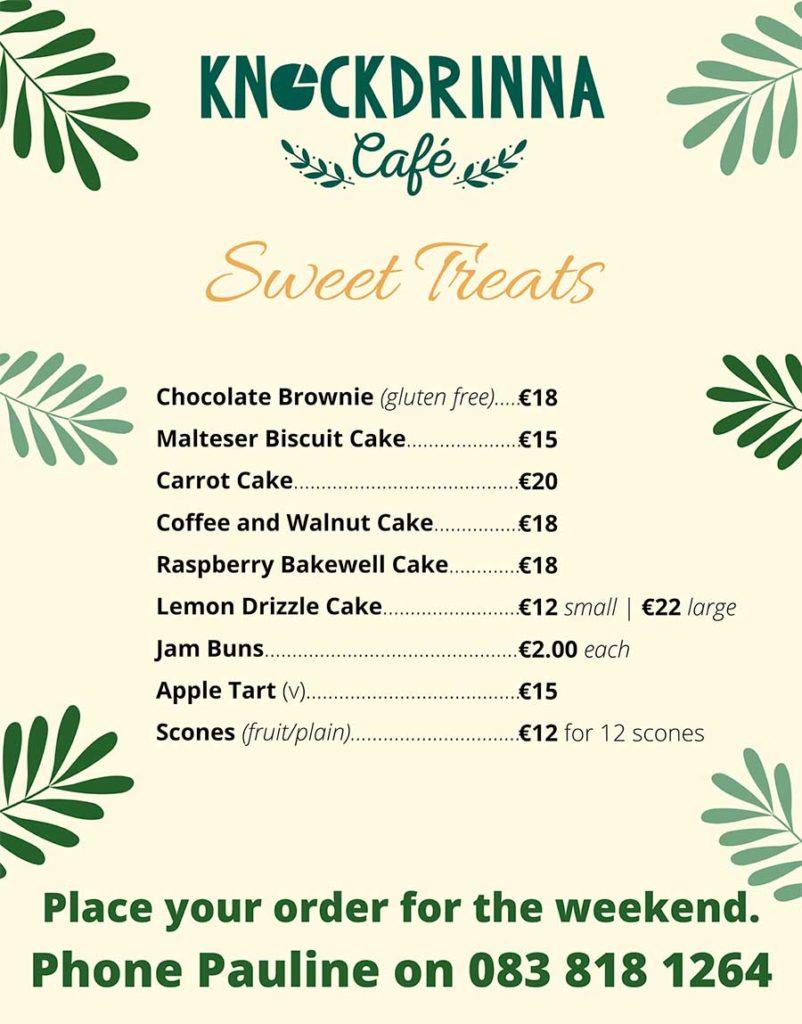 Knockdrinna Café's Sweet Treats menu