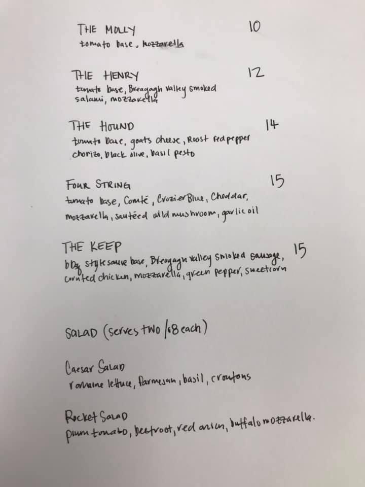 Barrows Keep pizza menu as of Saturday 18 April, 2020
