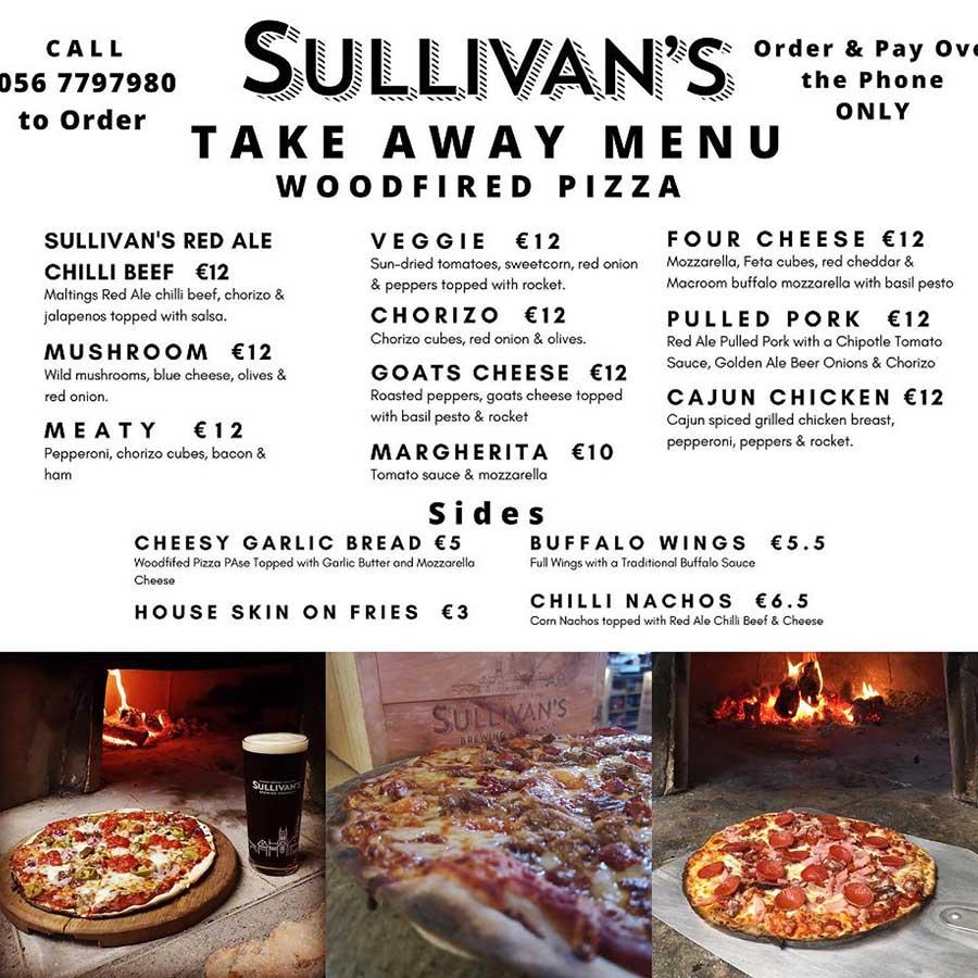 Sullivan's Takeaway Menu