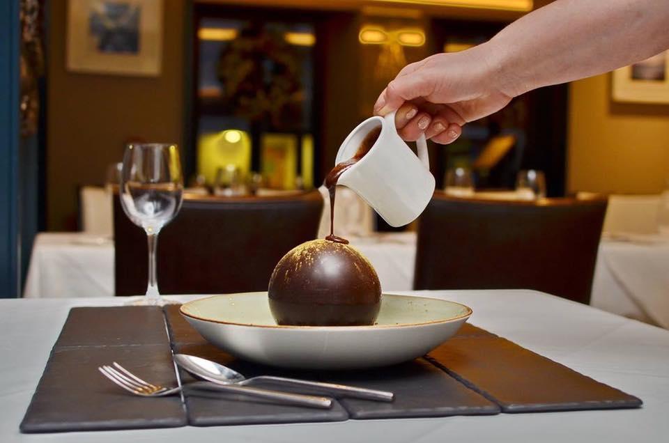 The renowned Zuni chocolate ball dessert.